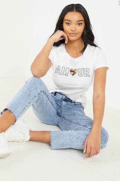 White Diamante Slogan T Shirt